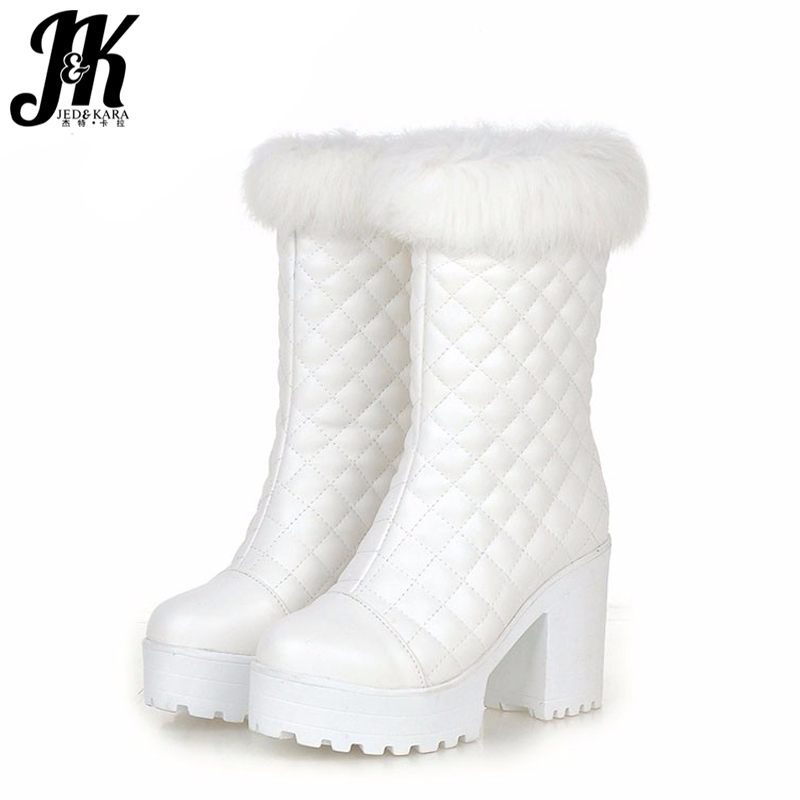 Fashion Lady's Fur Grid Upper Fall Winter Boots Thick High Heels Platform Shoes Woman With Fur Warm Winter Boots Size 34-43 high quality lace up nubuck short boots women thick high heels platform shoes woman with fur skid proof fall winter suede boots