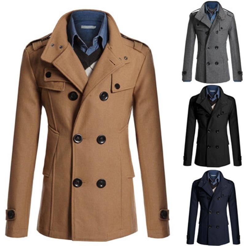 2019 Autumn And Winter Men's Wool Coat Slim Jacket Double Row Button Collar Warm Men's Casual Jacket Coat M-3XL