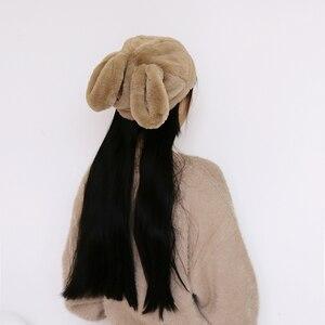 Image 2 - 女性冬の帽子和風甘いかわいいウサギの耳豪華なキャップ動物の帽子 Skullies New ファッションふわふわウォーマービーニーキャップ