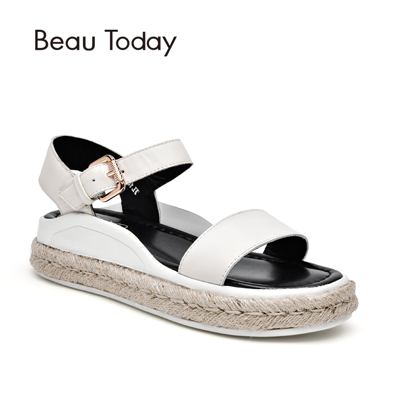 BeauToday Sandals Women Summer Genuine Leather Calfskin Rope Sole Flat Heel Buckle Sandals Ladies Shoes Handmade 32029 2016 summer women flat platform slippers fashion hemp rope insole ladies genuine leather buckle sandals designer espadrilles