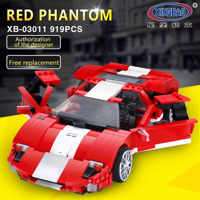 XingBao шт. 919 03011 шт. Творческий MOC техника серии красный Phantom гоночный автомобиль набор строительных Конструкторы кирпичи Совместимость LegoINGlys
