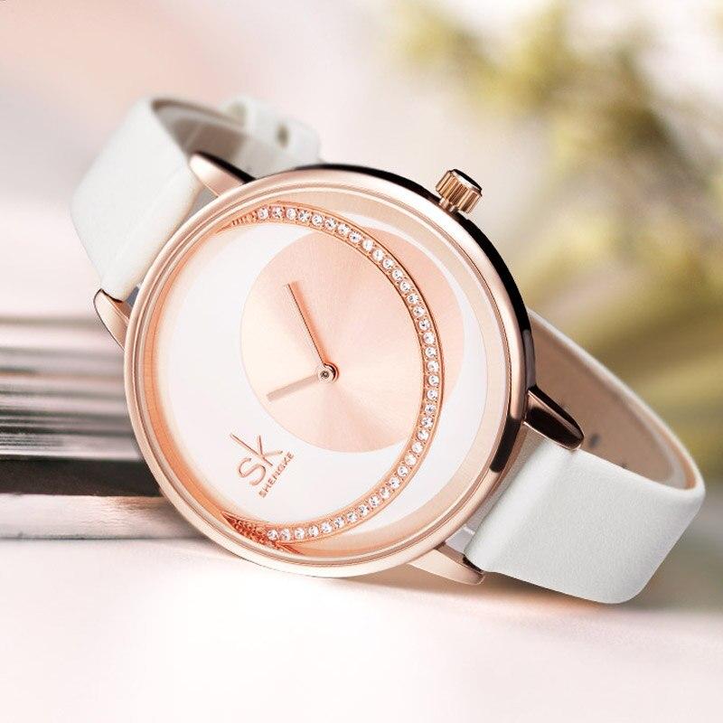Shengke Top Brand Women Watches White Leather Thin Strap Quartz Watch Women's Luxury Dress Rhinestone Dial Relogio Feminino Lady