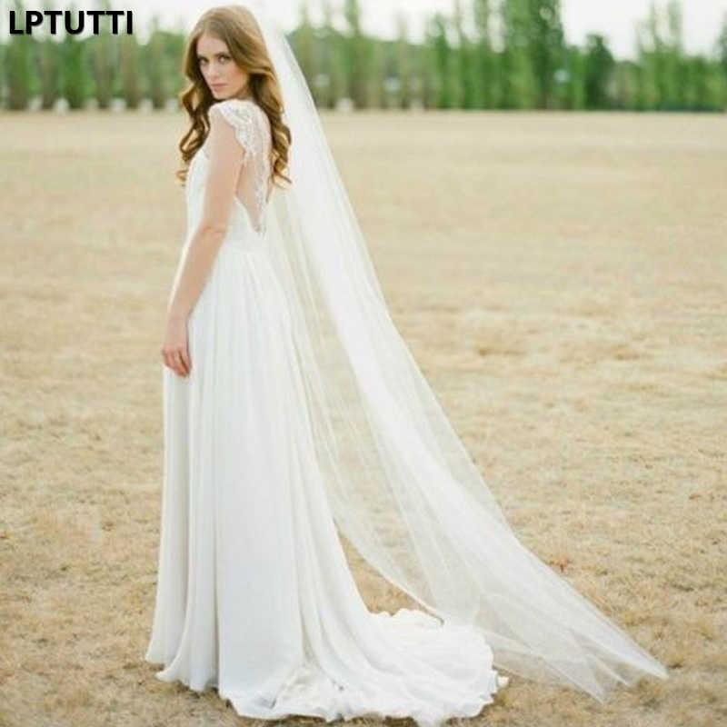LPTUTTI פשוט רך חוט חדש מנטילת חתונה להתחתן כיסוי ראש אביזרי ארוך קתדרלת כלה חתונת רעלה עם מסרק