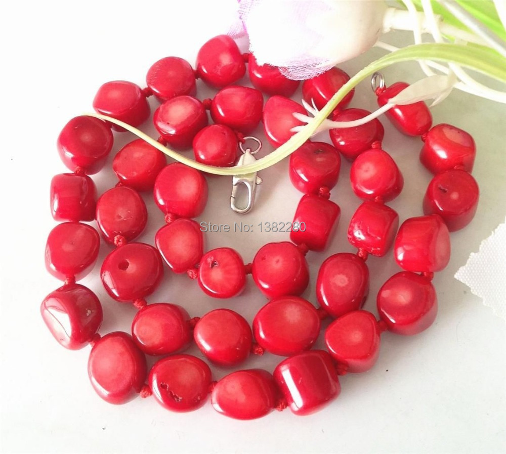 ! Fashion Style 10-15mm Red Sea Coral Necklace 18'' fashion jewelry JT5511