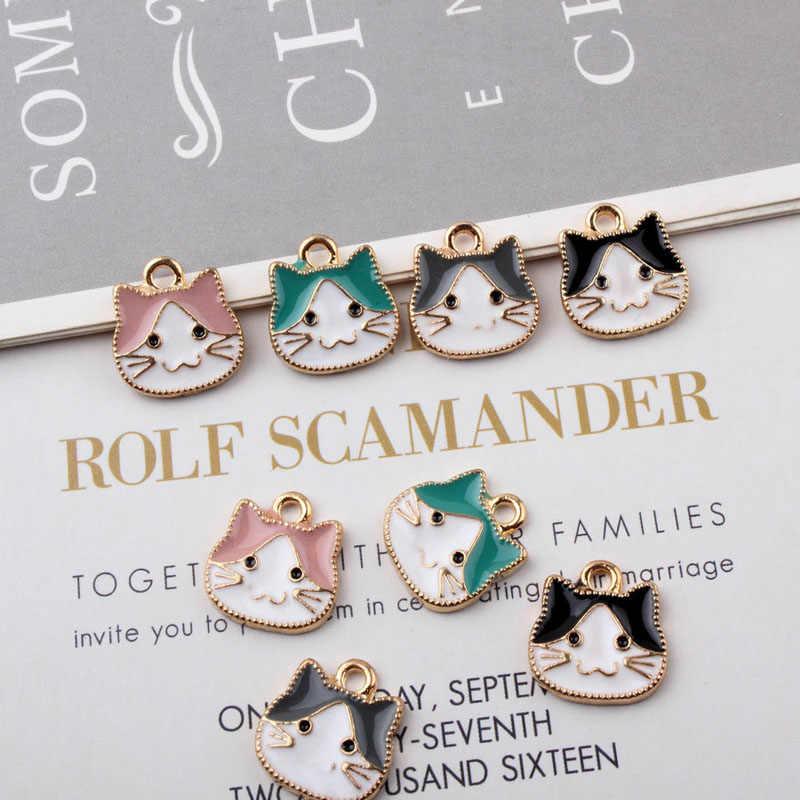 10 шт./партия мульти милый кот Эмаль Подвески для изготовления ювелирных изделий Браслет/ожерелье/серьги, ювелирные изделия женские аксессуары YZ268