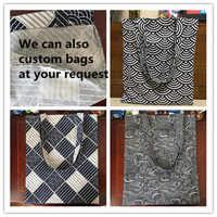 YILE 1-layer Cotton Linen Shopping Tote Shoulder Eco Bag Ripple Spring Diamond L17219-4
