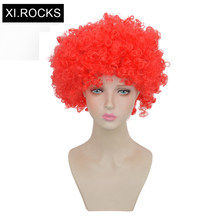 Xi.Rocks Yellow Fans Wig Red Green Womens Wigs Synthetic Hair Short Wigs White Women Cosplay Wig Short Curly Blue Hairstyle(China)