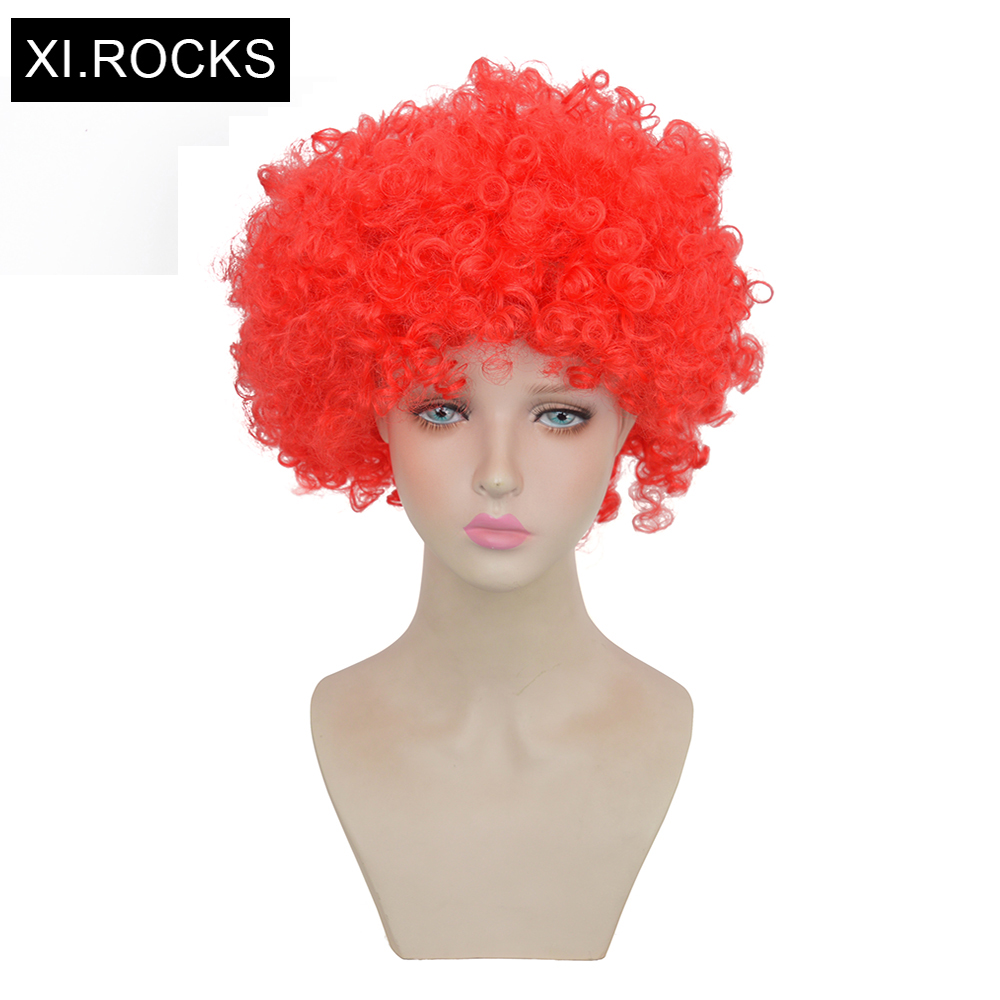 Xi.Rocks Yellow Fans Wig Red Green Womens Wigs Synthetic Hair Short Wigs White Women Cosplay Wig Short Curly Blue Hairstyle