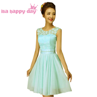 Vestidos De Knee Length Womens Chiffon Light Blue Lace A Line Elegant Dresses Fashion 2016 Homecoming