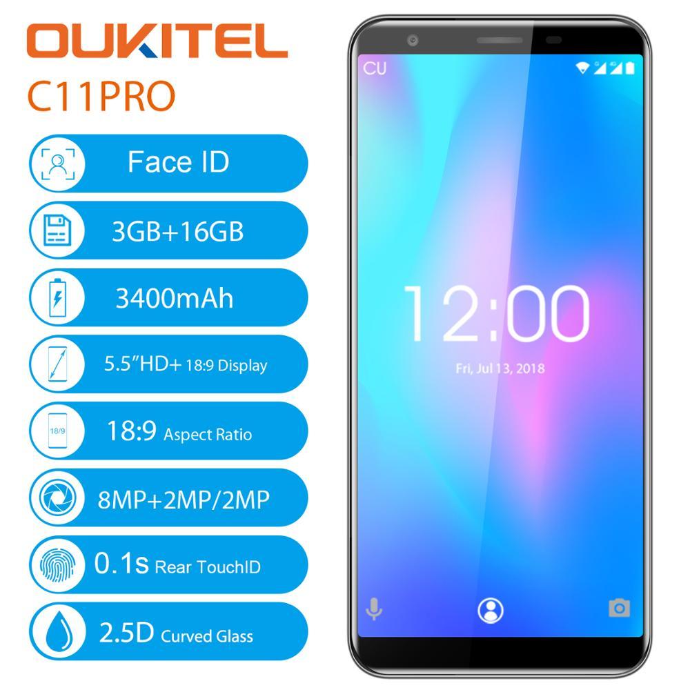 OUKITEL C11 Pro 4G Android 8.1 Smartphone 5.5 pouces 18:9 Quad Core 3 GB RAM 16 GB ROM téléphones portables 3400 mAh téléphone portable Original