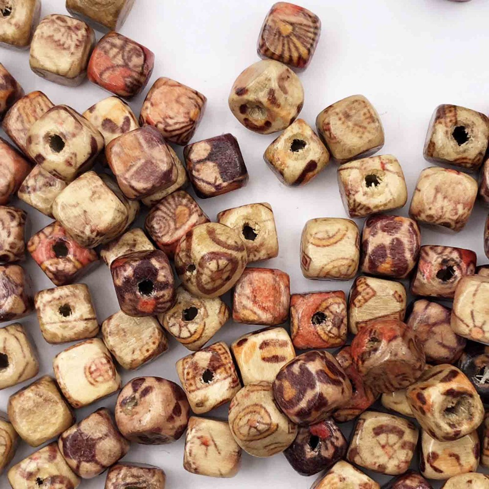 100pcs Mixed Large Hole Wooden-Beads Jewelry-Charms Crafts Making DIY ELJ