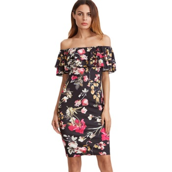 New Women Dress Off the Shoulder Butterfly Sleeve Summer Sheath Dresses Floral Printing Dresses