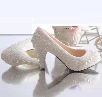 ФОТО 100% hand made pearls pumps shoes women white low med high heels female women's pearls wedding party pumps shoes TG1084 on sales
