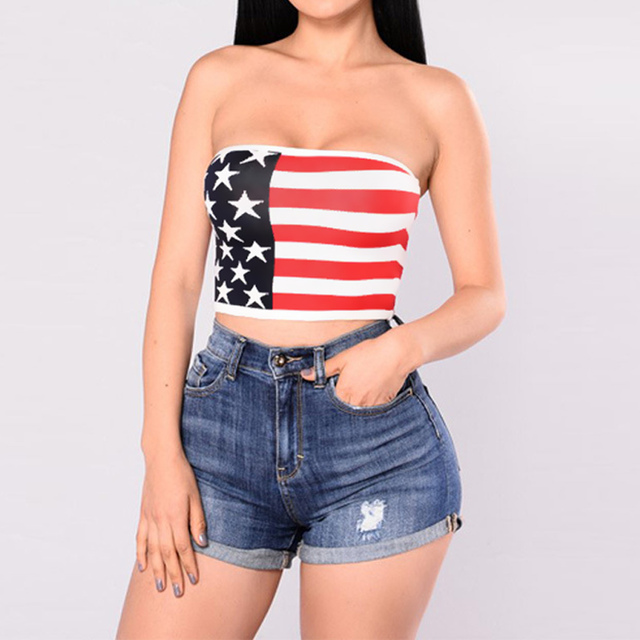 63c0cced0eba91 2019 Summer Sexy Women Strapless Bustier Crop Top American Flag Print Tank  Top Women Bandeau Camisole Tube Top Vest Red