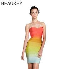 Без бретелек сексуальное женское Радужное разноцветное мини облегающее Бандажное платье из вискозы