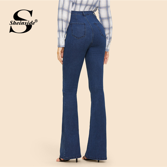 Sheinside Blue Button Up Flare Jeans Waist Stretch