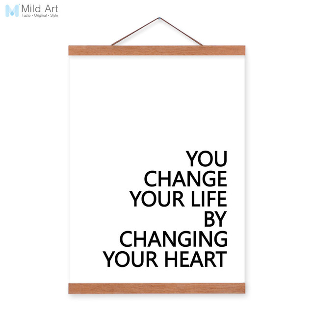 Minimalist Change Life Change Heart Quotes Wooden Framed Canvas