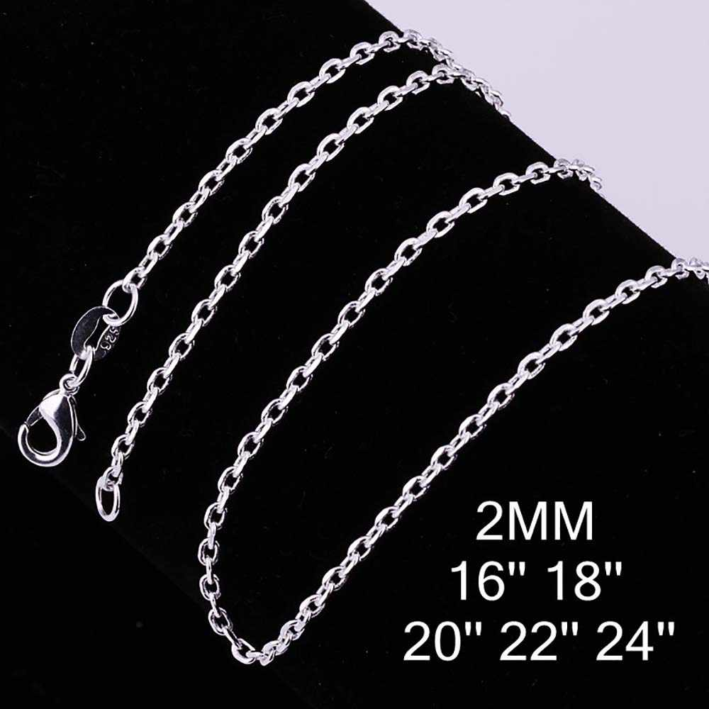 "Wholesale Price Hot Sale  Jewelry Silver Plated 2mm Link Rolo Chains 16"",18"" ,20"",22"",24 Inch,fashion Women's Jewelry Chains"