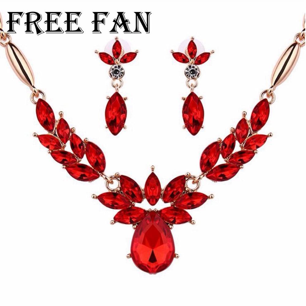 Free Fan Rhineston Fashion Dubai Gold Jewelry Sets For Women Imitation Boho African Necklace Earrings Jewellery Set Schmuck 2018