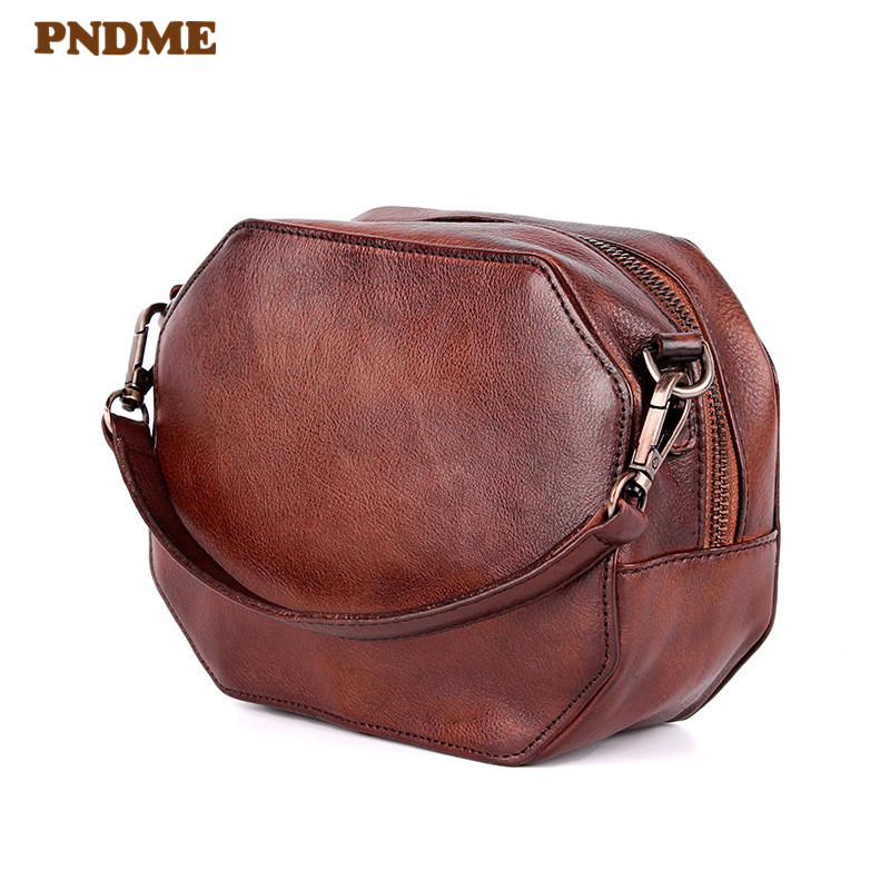 PNDME retro designer handmade genuine leather ladies handbag simple fashion cowhide women 39 s round shoulder bag for female in Shoulder Bags from Luggage amp Bags