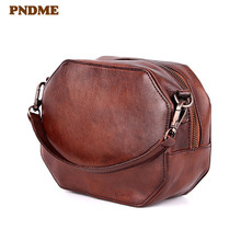 купить PNDME retro designer handmade genuine leather ladies handbag simple fashion cowhide women's round shoulder bag for female дешево