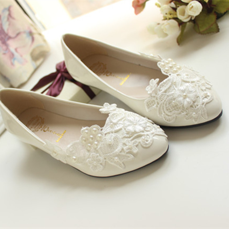 Custom Heels Women White Ivory Lace Wedding Shoes Lady Las Bridal Prom Ballet Flats Size 4 5 6 7 8 9 10 11 12 In S From On