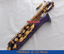 Support Professional Purple and Gold Baritone Saxophone Sax High F# W/Leather Case