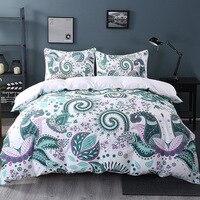 Home Textiles Paisley Jacquard Bedding Set King Queen Size 3Pcs Green Floral Duvet Cover Comforter Bedding Pillowcase Bedclothes