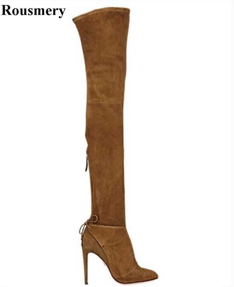 Women Fashion Pointed Toe Suede Leather Over Knee High Heel Boots Elegant Ladies Long Super High Boots Dress Shoes