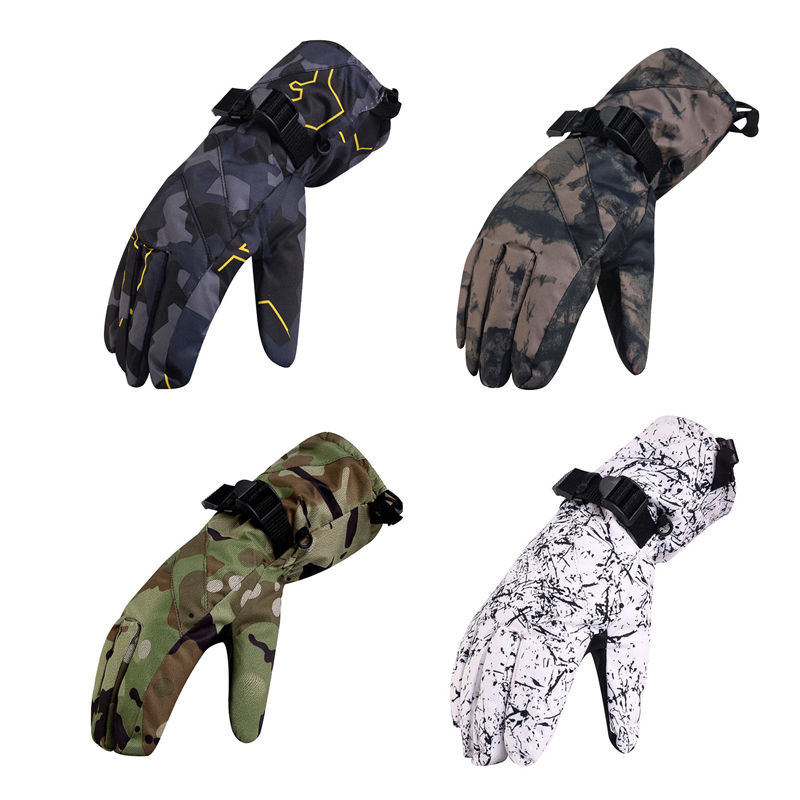Camouflage Men Snow Gloves winter outdoor Mittens Waterproof Windproof Bicycle Mountains Snowboarding and skiing Gloves -30 warm