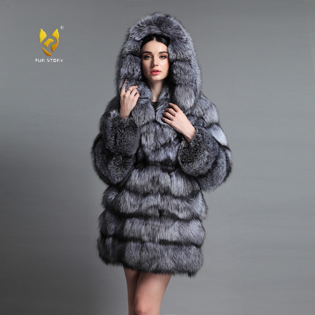 bfc1f555b200 Fur Story 16192 Top Grade Women s Real Silver Fox Fur Coat with Big Fur  Hood Natural Fur Overcoat Red Fox Coat Hoodie