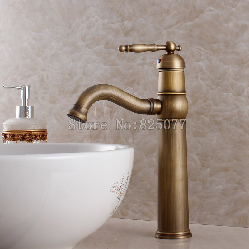 Free shipping luxury antique bathroom faucet,hot and cold basin taps,classic brass brushed bathroom vessel mixer faucet-KF20 00009 red gold bride wedding hair tiaras ancient chinese empress hair piece