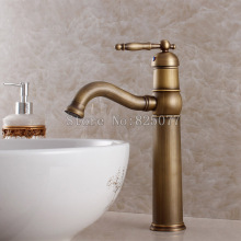 Free shipping luxury antique bathroom faucet,hot and cold basin taps,classic brass brushed vessel mixer faucet-KF20