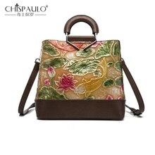 Сумки из натуральной кожи, винтажная женская сумка, цветная тисненая сумка на плечо с рисунком лотоса и рыбы, сумка в китайском стиле, сумка-тоут