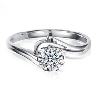 Elegant Flower Shape Real 18K White Gold Wedding Engagement Band Solitaire 0 2 Ct Round Cut
