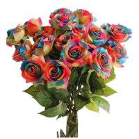 Künstliche Rose Blumen Hochzeitsstrauß Dekoration Bundles-12 stücke (Regenbogen farbe)
