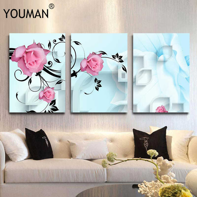 Wallpaper Modern Print on Canvas Unframed 3D Red Roses Flowers Wall Painting Fashion Living Room Home Decor Wall Papers For 3 D