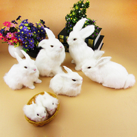 a families of simulation rabbit toys lifelike white rabbit models gift a19
