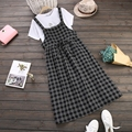 Otoño dress correa de espagueti de la alta cintura de las mujeres dress casual loose algodón plaid dress blanco negro azul estilo preppy vestidos