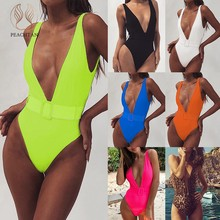 Peachtan Deep V-Leher Swimsuit One Piece Seksi Gesper Neon Bikini 2019 Push Up Baju Renang Wanita Baju Monokini Beachwear Baru(China)