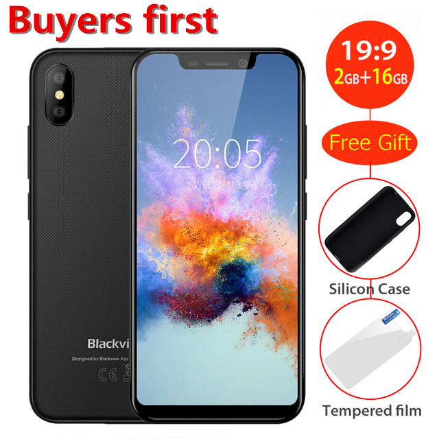2018 new BLACKVIEW A30 smartphone Android 8.1 MTK6580 Quad core 19:9 5.5'' RAM 2GB ROM 16GB 8.0MP 3G WCDMA Face ID mobile phone