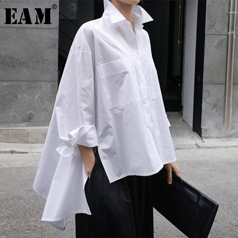 [EAM] 2019 New Autumn Winter Lapel Long Sleeve White Back Long Loose Big Size Irregular Shirt Women Blouse Fashion Tide JU847