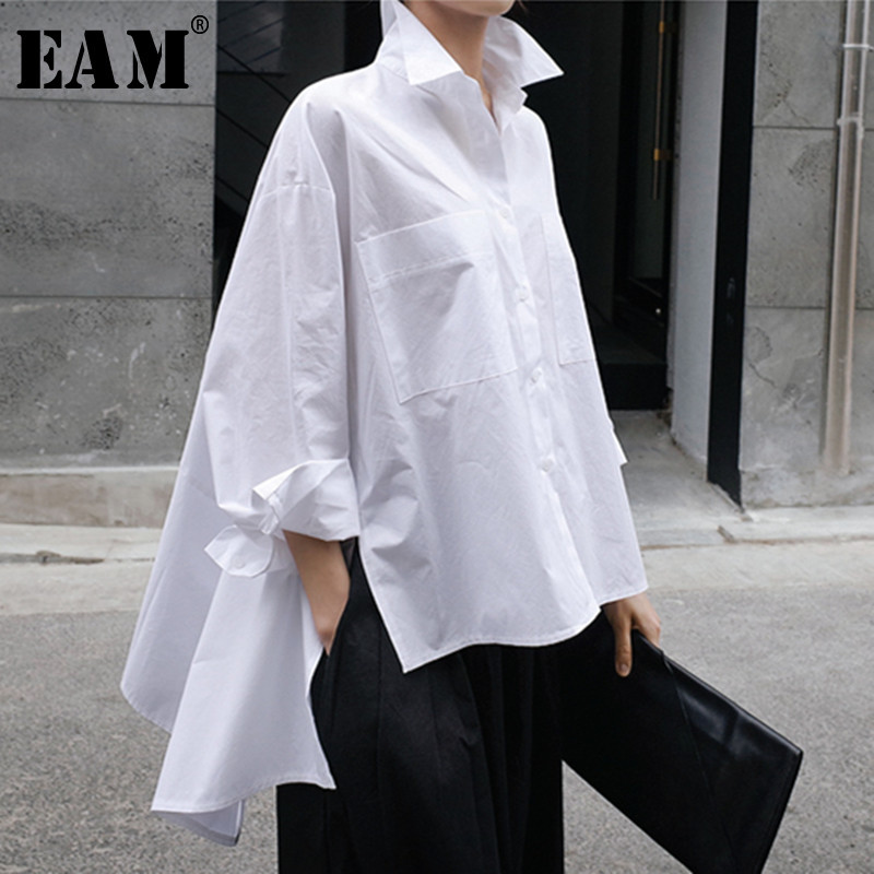 [EAM] 2020 New Spring Autumn Lapel Long Sleeve White Back Long Loose Big Size Irregular Shirt Women Blouse Fashion Tide JU847