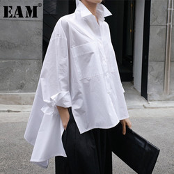 [EAM] 2021 New Spring Autumn Lapel Long Sleeve White Back Long Loose Big Size Irregular Shirt Women Blouse Fashion Tide JU847