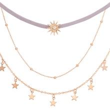 Women Simple Multi-layer Tassel Chain Pendant Choker Alloy Necklace Jewelry Pentagram Sun Multilayer Necklace Bead Chain цена