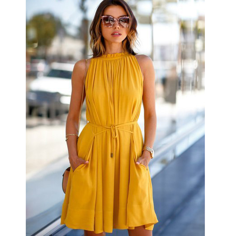 363695758a5e5 Φ_Φ Online Wholesale mini dress sleeveless o neck yellow and get ...