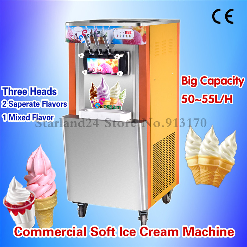 High Yield Soft Ice Cream Machine Commercial Sunsae Ice Cream Machine 52~55Liters/H Air Cooling edtid new high quality small commercial ice machine household ice machine tea milk shop