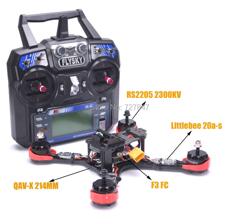Ready to Fly FPV QAV-X 214mm Frame RS2205 2300kv Motor F3 Flight Control Littlebee 20a-S ESC For QAV-X 210 QAV-R rc plane qav zmr250 3k carbon fiber naze 6dof rve6 rs2205 favourite 20a emax
