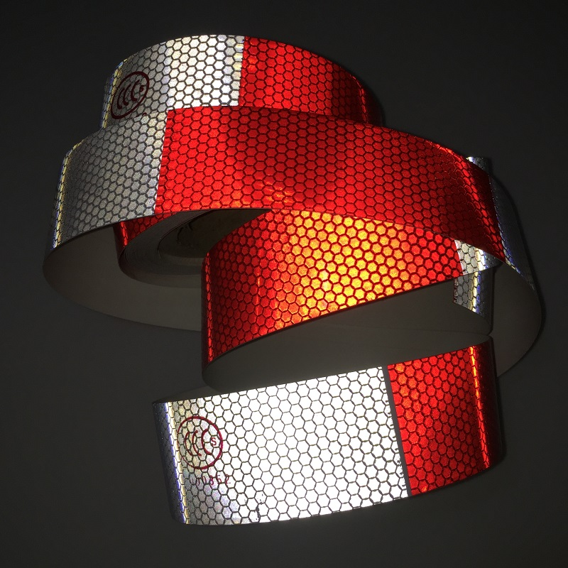 5cm*28M PVC White Add Red Reflective Warning Tape Directly Paste For Van Car Warning Posted