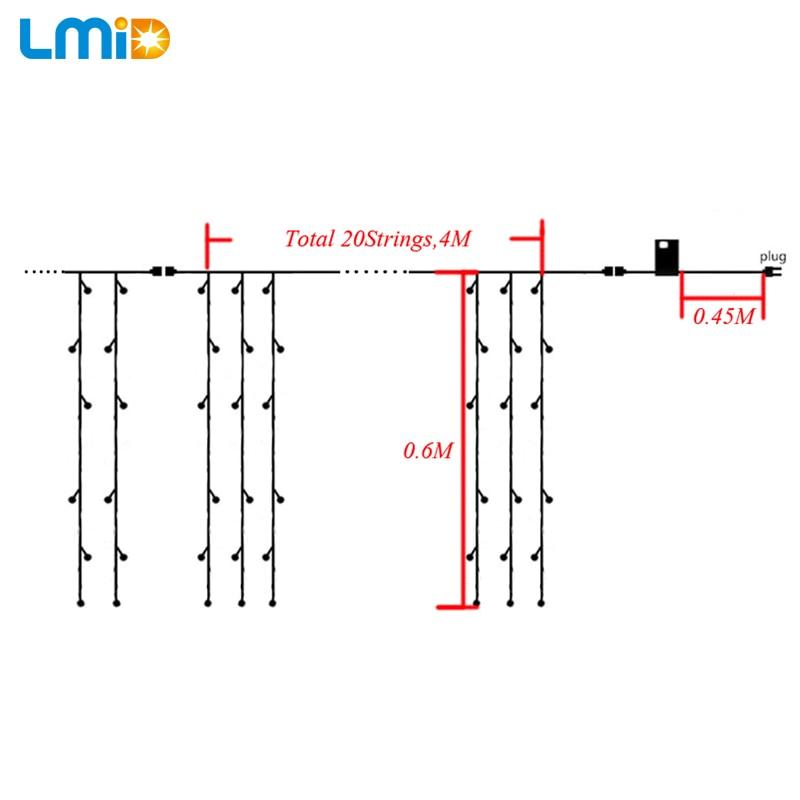 LMID Жарықдиодты светодиод 4M * 0.6M Суға - Мерекелік жарықтандыру - фото 3